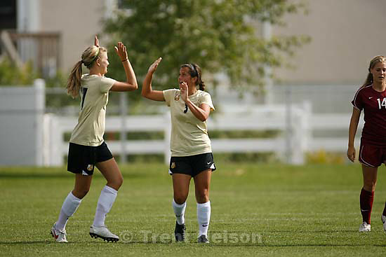 Kaysville - Davis's Katelyn McLeod (right) celebrates her goal with teammate Jessica Harris. Davis vs. Northridge high school girls soccer Thursday, September 10 2009..