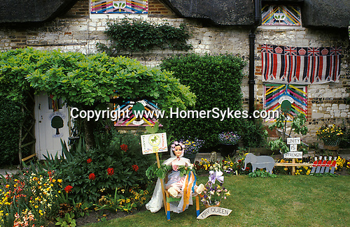Grovely Forest Right. Wishford Magna Wiltshire England. Oak Apple Day May 29th. Prettiest cottage competition. 1980s UK