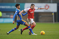 Fleetwood Town's James Wallace vies for possession with Shrewsbury Town's Josh Laurent<br /> <br /> Photographer Kevin Barnes/CameraSport<br /> <br /> The EFL Sky Bet League One - Shrewsbury Town v Fleetwood Town - Tuesday 1st January 2019 - New Meadow - Shrewsbury<br /> <br /> World Copyright © 2019 CameraSport. All rights reserved. 43 Linden Ave. Countesthorpe. Leicester. England. LE8 5PG - Tel: +44 (0) 116 277 4147 - admin@camerasport.com - www.camerasport.com