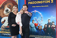 """LOS ANGELES - JAN 6:  AJ Buckley, family at the """"Paddington 2"""" US Premiere at Village Theater on January 6, 2018 in Westwood, CA"""