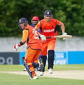 ICC World T20 Qualifier - GROUP B MATCH - NETHERLANDS V AFGHANISTAN at Grange CC, Edinburgh - Netherlands batsmen Michael Swart and Ben Cooper make runs — credit @ICC/Donald MacLeod - 09.07.15 - 07702 319 738 -clanmacleod@btinternet.com - www.donald-macleod.com