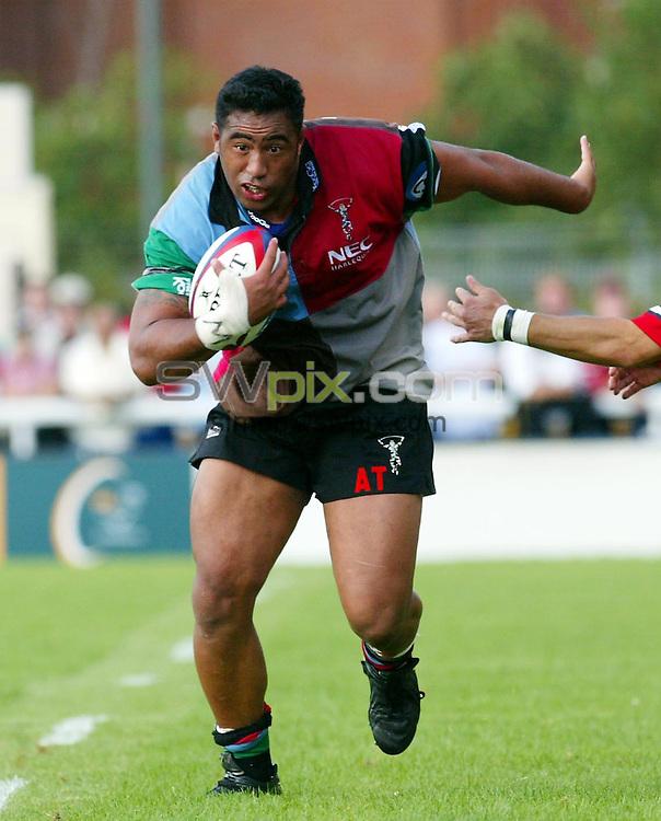 Pix: Rob Matthews/SWpix.com.  Rugby Union. Zurich Premiership. Harlequins v Gloucester. 31/08/2002...COPYRIGHT PICTURE>>SIMON WILKINSON>>01943 436649>>..Harlequins Ace Tiatia.
