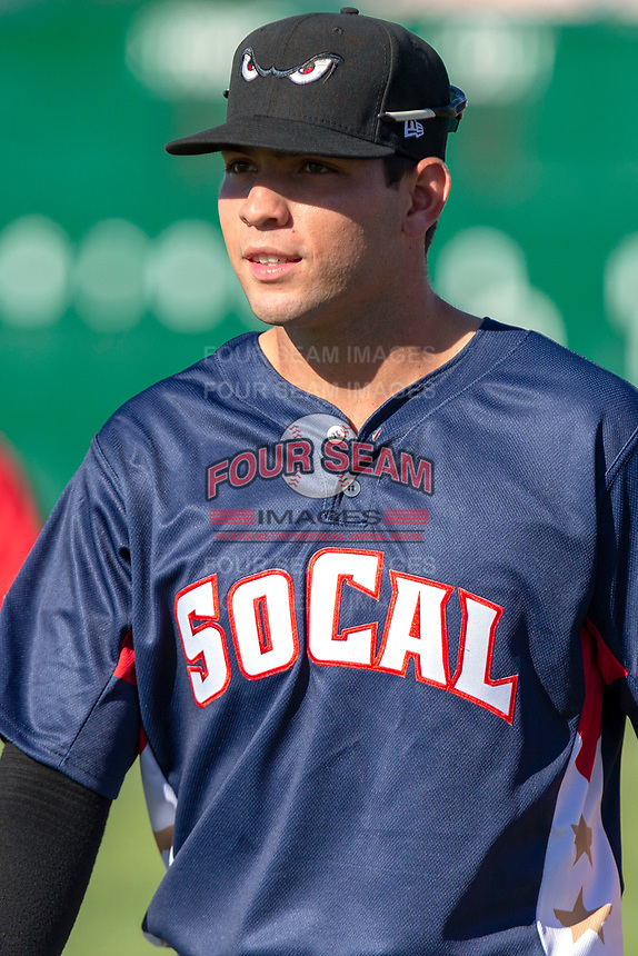 Hudson Potts (15) of the Lake Elsinore Storm poses for a photograph prior to the 2018 California League All-Star Game at The Hangar on June 19, 2018 in Lancaster, California. The North All-Stars defeated the South All-Stars 8-1.  (Donn Parris/Four Seam Images)