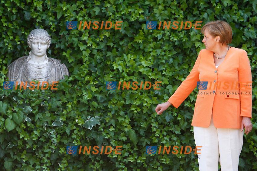 Angela Merkel.Roma 04/07/2012 Villa Madama. Vertice Italo Tedesco..Photo Samantha Zucchi Insidefoto