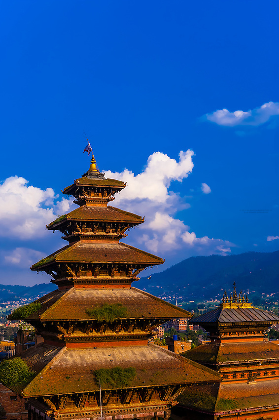 Nyatapola Pagoda and Bhairav Temple in Taumadhi Square, Bhaktapur, Kathmandu Valley, Nepal.