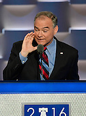 United States Senator Tim Kaine (Democrat of Virginia) makes remarks accepting the Democratic Party nomination for Vice President of the US during the third session of the 2016 Democratic National Convention at the Wells Fargo Center in Philadelphia, Pennsylvania on Wednesday, July 27, 2016.<br /> Credit: Ron Sachs / CNP<br /> (RESTRICTION: NO New York or New Jersey Newspapers or newspapers within a 75 mile radius of New York City)