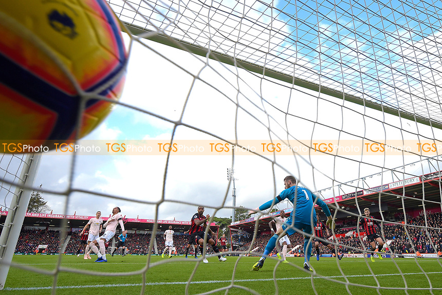 The shot from Callum Wilson of AFC Bournemouth hits the back of the net for the first goal during AFC Bournemouth vs Manchester United, Premier League Football at the Vitality Stadium on 3rd November 2018