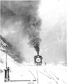 Engine #318 switching at Ouray on last day of operation.<br /> D&amp;RGW  Ouray, CO  Taken by Richardson, Robert W. - 3/21/1953