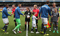 Blackburn Rovers greet the match officials during todays lineout <br /> <br /> Photographer Rachel Holborn/CameraSport<br /> <br /> The EFL Sky Bet Championship - Blackburn Rovers v Millwall - Saturday August 11th 2018 - Ewood Park - Blackburn<br /> <br /> World Copyright &copy; 2018 CameraSport. All rights reserved. 43 Linden Ave. Countesthorpe. Leicester. England. LE8 5PG - Tel: +44 (0) 116 277 4147 - admin@camerasport.com - www.camerasport.com