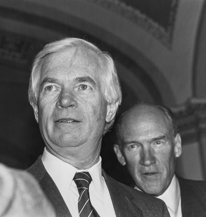 Close-up of Sen. Thad Cochran, R-Miss., with party member in December 1990. (Photo by Maureen Keating/CQ Roll Call via Getty Images)