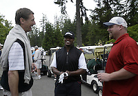 June 23, 2008:  Former Seattle SuperSonics and founder of the tournament,  (left) Detlef Schrempf, (Center) Buffalo Bills safety Lawyer Milloy and (right) former Titans offensive lineman Benji Olson enjoy a laugh together before  playing in the Detlef Schrempf celebrity golf classic held at McCormick Woods golf club in Port Orchard, WA.