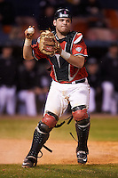 Ball State Cardinals catcher Jarett Rindfleisch (25) throws to first during a game against the Wisconsin-Milwaukee Panthers on February 26, 2016 at Chain of Lakes Stadium in Winter Haven, Florida.  Ball State defeated Wisconsin-Milwaukee 11-5.  (Mike Janes/Four Seam Images)