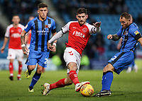 Fleetwood Town's Ched Evans competing with Gillingham's Barry Fuller<br /> <br /> Photographer Andrew Kearns/CameraSport<br /> <br /> The EFL Sky Bet League One - Gillingham v Fleetwood Town - Saturday 3rd November 2018 - Priestfield Stadium - Gillingham<br /> <br /> World Copyright &copy; 2018 CameraSport. All rights reserved. 43 Linden Ave. Countesthorpe. Leicester. England. LE8 5PG - Tel: +44 (0) 116 277 4147 - admin@camerasport.com - www.camerasport.com