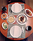 USA, California, Los Angeles, top view of meal served on table at Craft Restaurant.
