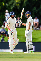 Dawid Malan of England gets to 50 rund with Joe Root of England during Day 4 of the Second International Cricket Test match, New Zealand V England, Hagley Oval, Christchurch, New Zealand, 2nd April 2018.Copyright photo: John Davidson / www.photosport.nz