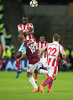 Papa Alioune Ndiaye of Stoke City during the Premier League match between West Ham United and Stoke City at the Olympic Park, London, England on 16 April 2018. Photo by Andy Rowland.