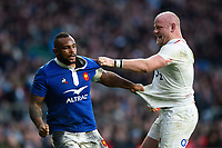 Dany Priso of France and Dan Cole of England tussle. Guinness Six Nations match between England and France on February 10, 2019 at Twickenham Stadium in London, England. Photo by: Patrick Khachfe / Onside Images
