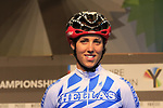 Varvara Fasoi of Greece at sign on for the start of the Women Elite Road Race of the UCI World Championships 2019 running 149.4km from Bradford to Harrogate, England. 28th September 2019.<br /> Picture: Eoin Clarke | Cyclefile<br /> <br /> All photos usage must carry mandatory copyright credit (© Cyclefile | Eoin Clarke)