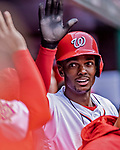 15 April 2018: Washington Nationals outfielder Michael A. Taylor returns to the dugout after scoring on a wild pitch in the 8th inning against the Colorado Rockies at Nationals Park in Washington, DC. All MLB players wore Number 42 to commemorate the life of Jackie Robinson and to celebrate Black Heritage Day in pro baseball. The Rockies edged out the Nationals 6-5 to take the final game of their 4-game series. Mandatory Credit: Ed Wolfstein Photo *** RAW (NEF) Image File Available ***