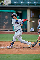 Tim Lopes (6) of the Tacoma Rainiers bats against the Salt Lake Bees at Smith's Ballpark on May 27, 2019 in Salt Lake City, Utah. The Bees defeated the Rainiers 5-0. (Stephen Smith/Four Seam Images)