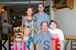 4882-4886.---------.Greetings.---------.Michael Hickey,Monavalley,Tralee(seated Rt)celebrated his birthday in Bella Bia restaurant,Ivy Terrace,Tralee last Saturday evening with his family Caoilinn,Orla and Aoife(back)Ciara Feeney and Pat Reid.