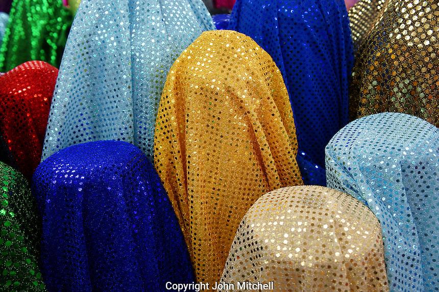 Sparkly fabric for sale in Merida, Yucatan, Mexico.