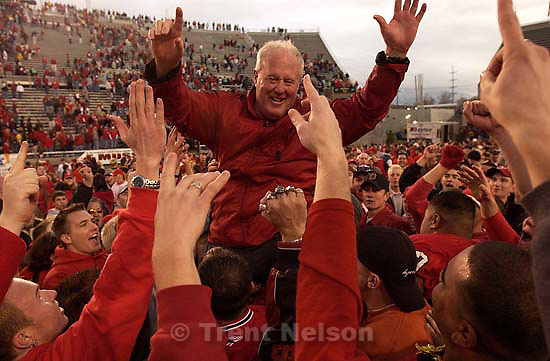 Salt Lake City - Utah coach Ron McBride. Utah vs. BYU football Saturday afternoon at Rice-Eccles Stadium. Utah wins 13-6.  11.23.2002, 4:18:39 PM<br />