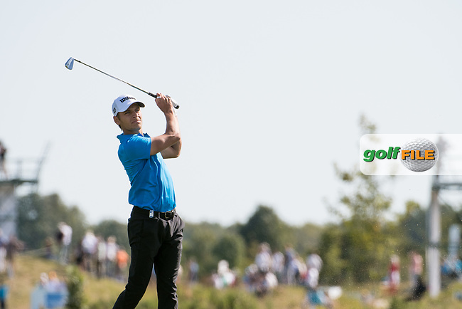 Joakim Lagergreen (SWE) in action on the 9th hole during the 3rd round at the KLM Open, The International, Amsterdam, Badhoevedorp, Netherlands. 14/09/19.<br /> Picture Stefano Di Maria / Golffile.ie<br /> <br /> All photo usage must carry mandatory copyright credit (© Golffile   Stefano Di Maria)