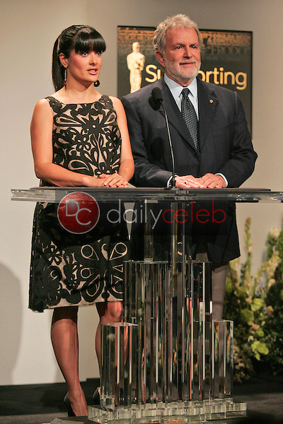 Salma Hayek and Sid Ganis<br />at the Press Conference Announcing the Nominees for the 79th Annual Academy Awards. Academy of Motion Picture Arts and Sciences, Beverly Hills, CA. 01-23-07<br />Dave Edwards/DailyCeleb.com 818-249-4998