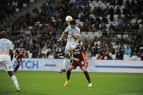 16.10.2016. Marseille, France. French league 1 football. Olympique Marseille versus Metz.  Sakai (OM) wins the header