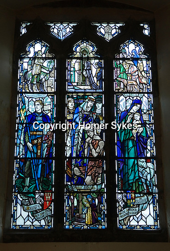 St Mary's Church Kemsing Kent Uk. Stained glass window of St Edith. Kemsing was the birthplace, in AD961, of Saint Edith of Wilton, an illegitimate daughter of the Saxon King Edgar I. The well at the centre of the village is dedicated to her, according to localm local legend her saintly presence has given the water healing properties.
