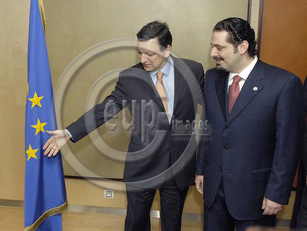 Brussels-Belgium - 28 February 2007---José (Jose) Manuel BARROSO (le), President of the European Commission, receives Saad HARIRI (ri), leader of the parliamentary majority in Lebanon---Photo: Horst Wagner/eup-images