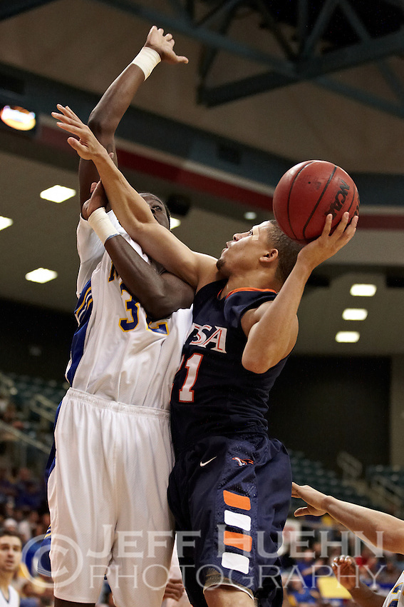 KATY, TX - MARCH 12, 2011: The 2011 Southland Conference Men's Basketball Tournament Championship Game featuring the University of Texas at San Antonio Roadrunners vs. the McNeese State University Cowboys at the Merrell Center. (Photo by Jeff Huehn)