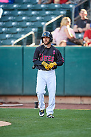 Shane Robinson (9) of the Salt Lake Bees comes to bat against the Iowa Cubs in Pacific Coast League action at Smith's Ballpark on May 13, 2017 in Salt Lake City, Utah. Salt Lake defeated Iowa  5-4. (Stephen Smith/Four Seam Images)
