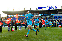 Ryan Bower leads the Worcester Warriors team out onto the pitch. Premiership Rugby Cup match, between Saracens and Worcester Warriors on November 11, 2018 at Allianz Park in London, England. Photo by: Patrick Khachfe / JMP