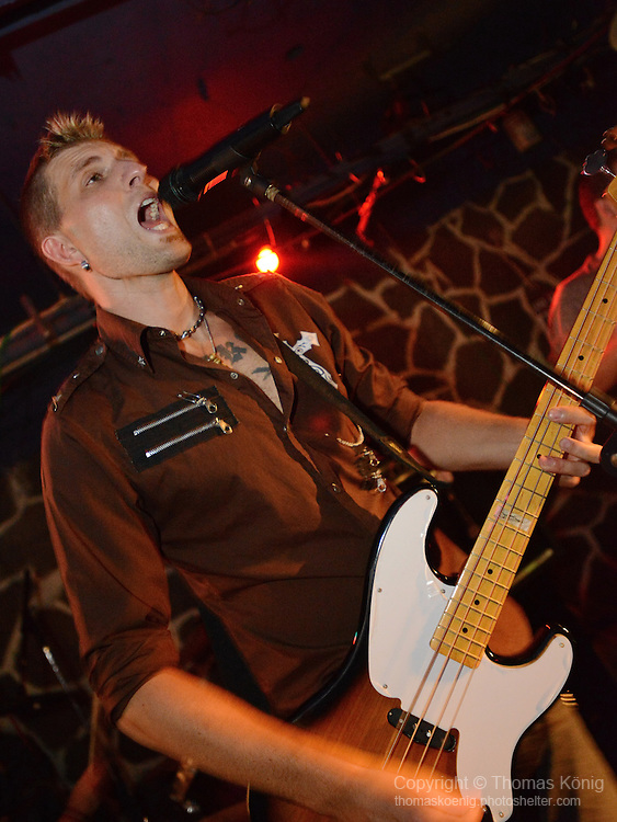 Kaohsiung, Taiwan -- Ian Hardwick of British Rock 'n' Roll band GOOBER GUN during a performance at the Brickyard.