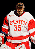 Grant Rollheiser (BU - 35) started his first game of the season after beginning the year injured. - The Boston University Terriers defeated the Merrimack College Warriors 6-4 on Saturday, November 14, 2009, at Agganis Arena in Boston, Massachusetts.