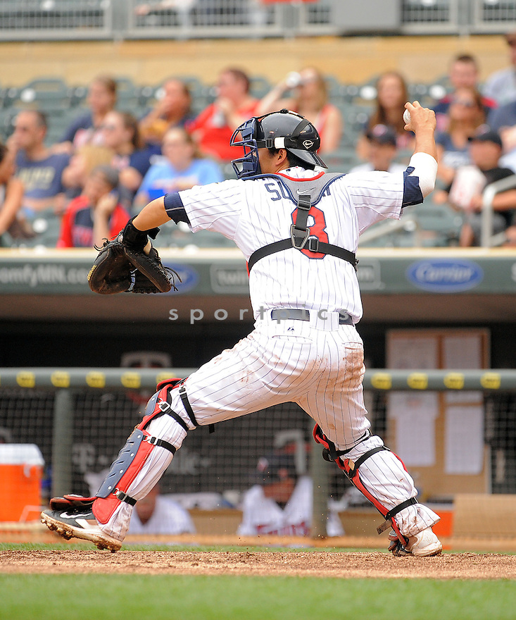 Minnesota Twins Kurt Suzuki (8) during a game against the Kansas City Royals on August 17, 2014 at Target Field in Minneapolis, MN. The Royals beat the Twins 12-6.