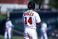 Mesa Solar Sox center fielder Victor Robles (14), of the Washington Nationals organization, at bat during an Arizona Fall League game against the Peoria Javelinas on October 25, 2017 at Sloan Park in Mesa, Arizona. The Solar Sox defeated the Javelinas 6-3. (Zachary Lucy/Four Seam Images)