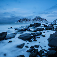 Rocky coastline of Flakstadøy, Lofoten Islands, Norway