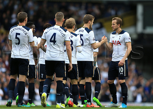 April 30th 2017, White Hart Lane, Tottenham, London England; EPL Premier League football Tottenham Hotspur versus Arsenal; Harry Kane of Tottenham Hotspur shaking hands with all the Spurs players before kick off