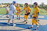 Rancho Santa Margarita, CA 04/30/10 - Sam Applegate (Santa Margarita #25), John Wilson (Torrey Pines #5), Max Myrick (Torrey Pines #9) in action during the Rancho Santa Margarita CHS-Torrey Pines boys varsity lacrosse game.