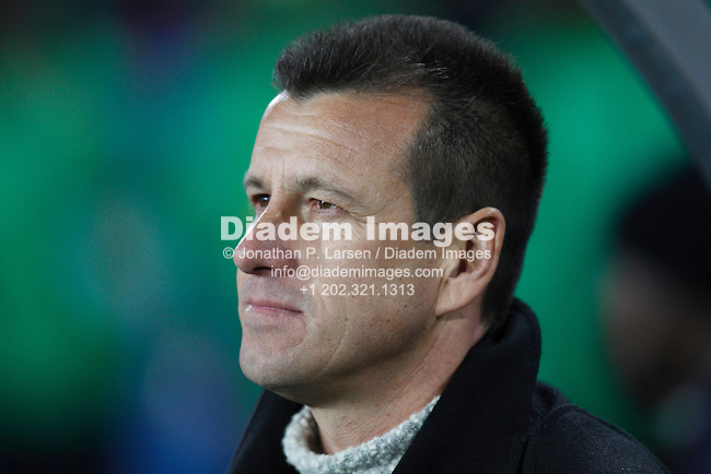 JOHANNESBURG - JUNE 15:  Brazil Coach Dunga on the team bench prior to a 2010 FIFA World Cup football match against North Korea June 15, 2010 in Johannesburg, South Africa.  NO mobile use.  Editorial ONLY.  (Photograph by Jonathan P. Larsen)
