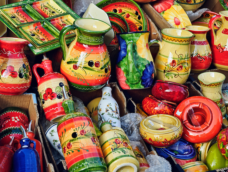 Pottery for sale at a market in Aix-en-Provence