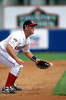 WINTER HAVEN, FL - Jim Thome of the Cleveland Indians in action during a spring training game against the Cincinnati Reds at Chain-O-Lakes Park in Winter Haven. Florida in 1996. Photo by Brad Mangin