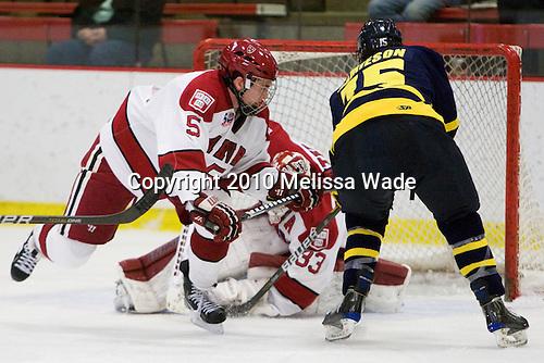 Dan Ford (Harvard - 5), John Jamieson (Merrimack - 15) -  - The visiting Merrimack College Warriors defeated the Harvard University Crimson 3-1 (EN) at Bright Hockey Center on Tuesday, November 30, 2010.