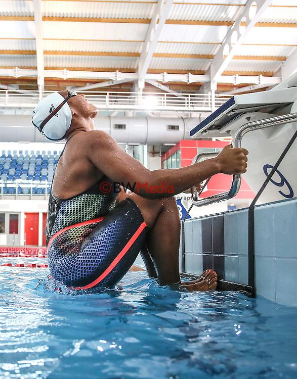 NZ Swimmer Gabrielle Fa'amausili. Adidas Swim racesuit launch at the Swimming New Zealand High Performance Centre, Owen G Glenn National Aquatic Centre, Auckland New Zealand. Phoyo: Simon Watts/www.bwmedia.co.nz