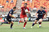 2nd February 2019, Spotless Stadium, Sydney, Australia; HSBC Sydney Rugby Sevens; Wales versus Scotland; Ben Roach of Wales fends off Gavin Lowe of Scotland