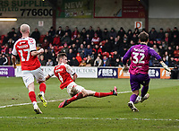 Fleetwood Town's Callum Connolly stretches to intercept Blackpool's Chris Maxwell pass<br /> <br /> Photographer Lee Parker/CameraSport<br /> <br /> The EFL Sky Bet League One - Fleetwood Town v Blackpool - Saturday 7th March 2020 - Highbury Stadium - Fleetwood<br /> <br /> World Copyright © 2020 CameraSport. All rights reserved. 43 Linden Ave. Countesthorpe. Leicester. England. LE8 5PG - Tel: +44 (0) 116 277 4147 - admin@camerasport.com - www.camerasport.com