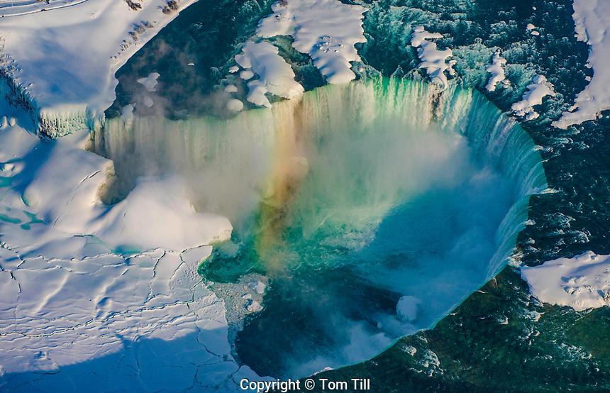 Horseshoe or Canadian Falls, Niagara Parks, Ontario, Canada  Niagara Canada Aerial view in winter